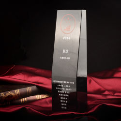 Nouveau Noir cristal de verre trophée pour le souvenir d'artisanat