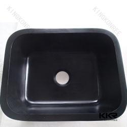 حمام الحجر الصناعي باللون الأسود اللامع مربع الشكل وحوض المطبخ السفلي