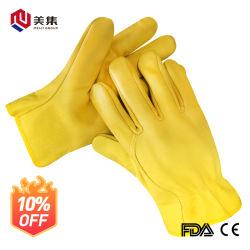 Driver di guanti da lavoro in pelle di capra gialla di buona qualità Guanto
