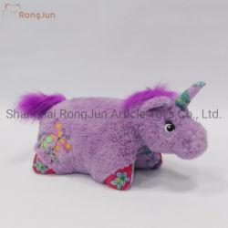 紫色の毛深く柔らかい詰められたユニコーンのおもちゃ