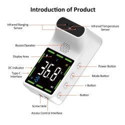 Draadloos Infrarood Voorhoofd met de Digitale Meting van de Thermometer van de Muur van het niet-Contact Bluetooth met LCD Vertoning voor Publiek, Bureaus, het Ziekenhuis, Scholen