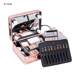 De grote Dozen van de Vertoning van de Opslag van de Organisator van de Make-up van de Capaciteit Kosmetische met LEIDENE Aangestoken Toiletry van de Spiegel Gevallen