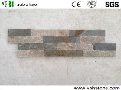P014-желтого цвета с плоским торцом доски культурных камня для монтажа на стену оболочка