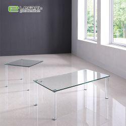 Commerce de gros de meubles en verre de forme carrée Table à café en verre clair