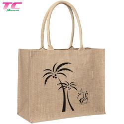 Дружественность к окружающей среде больших Burlap брелоки сумки мягкой хлопковой подарок ручки сумки для женщин