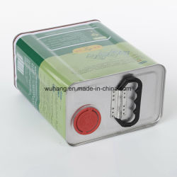 De container Tafelolie van het Metaal van 1 Liter de Vierkante kan