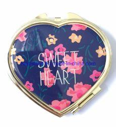 تصميم القلب المعدني الترويج للهدايا مرآة صغيرة الحجم