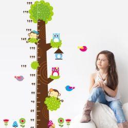 Custom Плз роста диаграммы ПВХ животных мультфильмов измерения высоты стены на наклейке