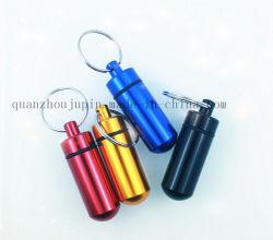 Frasco de pílulas de Emergência de metal OEM Keyring Chaveiro Cadeia Key Ring