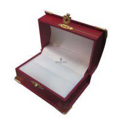 Cupola-Stile su ordinazione con il contenitore di plastica di anello delle coppie dei monili dell'angolo dell'oro del metallo che sposta la casella impaccante di memoria di carta del regalo del Leatherette
