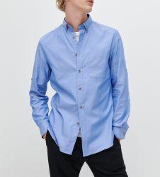 Oficina de venta al por mayor de la fábrica OEM diseños de moda hasta el botón de camisa Oxford personalizado Plus Size personal de los hombres visten camisetas