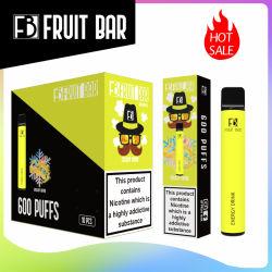 Reino Unido Vendas Quente Frutas Bar 600 Puff Vape descartável Caneta 2%Ecigarette Nic