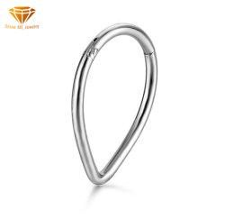 En acier inoxydable 316L ANNEAU Drop-Shaped nez anneau fermé une connexion transparente bague nez Earrings multifonctionnel de l'anneau de nez ESSS8636