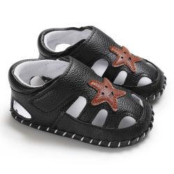 Ребенка мальчика обувь обувь для новорожденных черный серый детский обувь летние детские первой клавишного соломотряса провод фиолетового цвета кожи младенца Prewalker