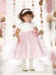 白く、ピンクのフラワー・ガールの服の夜会服はプロムのイブニング・ドレスをからかう