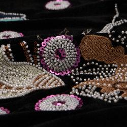 Tube de perles et paillettes de broderie dentelle Tissu de mariage