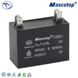 Cbb61 Venda quente 10UF 450V ventilador de teto Diagrama elétrico do condensador