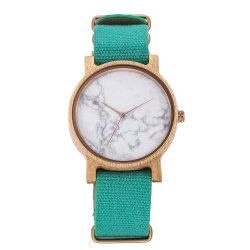 De Madera Natural de piedra de mármol verde artesanía de Nylon Correa de reloj de regalo