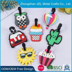 Custom 3D Soft Silicone Loops Metal Large Letter Leopard المطاط حقيبة من البلاستيك الناعم عليها علامة الأمتعة