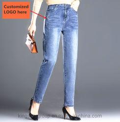 مخصص/مخصص ملصق خاص/شعار/علامة تجارية عالية الجودة للسيدات/النساء/الفتيات بالجملة/الأسهم/أزياء سائبة بنطلون/جينز القطن