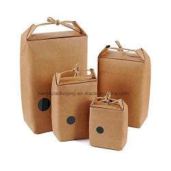Packpapier-Nahrungsmittelträger-Beutel mit Pouchwindow u. strickendem Netzkabel, für Teeblätter, Reis, Muttern, Geschenke