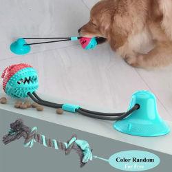 安い価格のゴム製御馳走球の吸引のコップ犬はロープストリングが付いている球をもてあそぶ