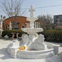 Китай заводская цена белым мраморным фонтаном дизайн с Lion статуи в саду