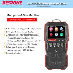 Monitor gas composto 4 in 1 con display a colori Wt8811 per Gas combustibile ossigeno idrogeno solfuro monossido di carbonio