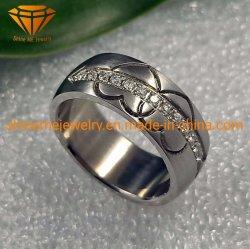 Ювелирные изделия из титана вольфрама кольцо титановый резьба драгоценные камни свадебный полосы частот для мужчин и женщин Tr1912