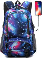 Sac de Galaxy pour l'école étudiant voyage d'affaires Bookbag avec port de chargement USB portable sac antivol avec Lumière de Nuit réflectif