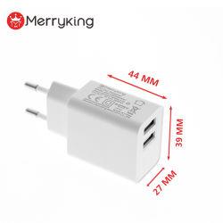 EU-Stecker, weiß, Dual-USB-Wandladegerät, 5 V, 2 A, 2,1 A, 2,5 A, USB-Reiseadapter für Tablet mit Ce GS