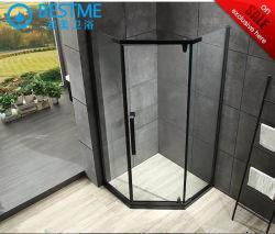 Luxueuse salle de douche en acier inoxydable noir douche avec douche en verre trempé de bord (BL-B0010-E)