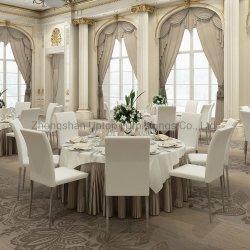 (SP-LC219) Commerce de gros châssis en acier empilable chaise de salle à manger en cuir blanc pour l'hôtel