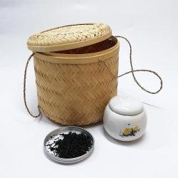 De ronde Natuurlijke Met de hand gemaakte Manden van het Bamboe met Deksel voor Opslag