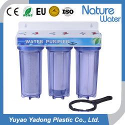 مرشح الماء المنزلي ثلاثي المراحل مع إسكان أكثر وضوحاً