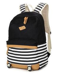 Recursos completos de lona Neutra Saco de ombro com duas vezes Navy Striped Bag raparigas escola dos Meninos Bag Bolsa Escola
