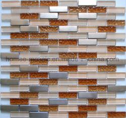 Motif de briques de verre et de mélanges de carreaux de mosaïque en acier inoxydable