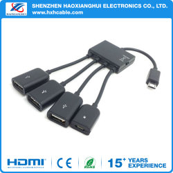 4 порта USB OTG питающий кабель концентратора разъем Spliter планшетный ПК для смартфонов