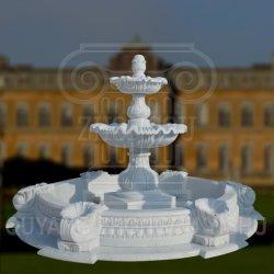 Tallado en granito de piedra de mármol blanco, fuente de agua para la decoración de jardín al aire libre