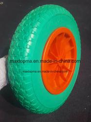 4.00-8 Tgumのブランド平らで自由なPUの泡の手押し車のための固体トロリー車輪