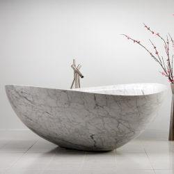 Carrara-weißer Marmor-freie stehende ovale Badewanne