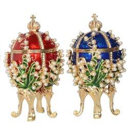 Rotes/blaues handgemaltes Weinlese-Art Faberge Eifunkelndes Rhinestones-Perle eingelegtes Schmucksachentrinket-Kasten-Neuheit-Geschenk