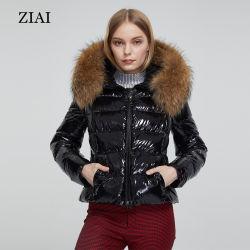 Veste femmes de bonne qualité rembourrage matelassé avec les filles d'hiver manteau de fourrure véritable des femmes de capot noir brillant Puffer Veste personnalisé