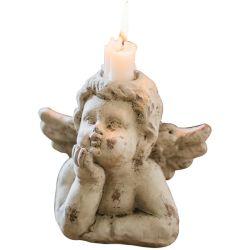 Очаровательный лежа Angel фигурка статую свеча держатель для использования внутри помещений открытый патио с садом украшения
