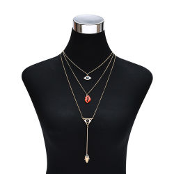 Trend Multilayer Choker Necklace with Mouth Evil Eye Pendant