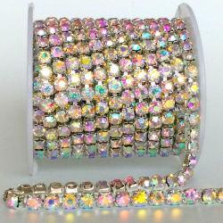 Ss6-SS18 Cristal AB densa en la base de chapado en oro cerca de la cadena de la Copa de Rhinestones Ornamento para la ropa vestidos Accesorios