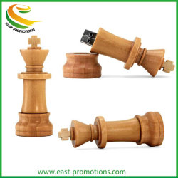 Wood Chess USB Memory Stick Promotional Pen USB Flash Drive مع شعار مطبوع