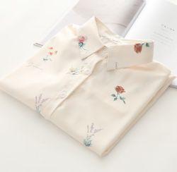 Мода одежды Custom Print цветочный повседневный Хлопок рубашки для леди