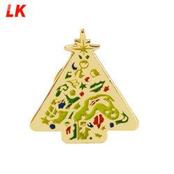 Árvore de Natal Esmalte de metal do pino de segurança de lapela Custom Broche/ Broche Pino