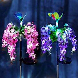 Солнечного Света для использования вне помещений Multi-Color изменение привело в форме бабочки сад фонари